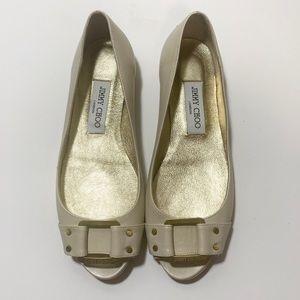 Jimmy Choo cream color open toe flat